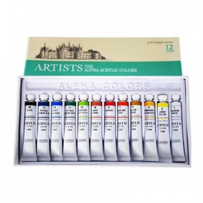 ALPHA ARTIST ACRYLIC COLOR SET OF 12 X 7.5cc