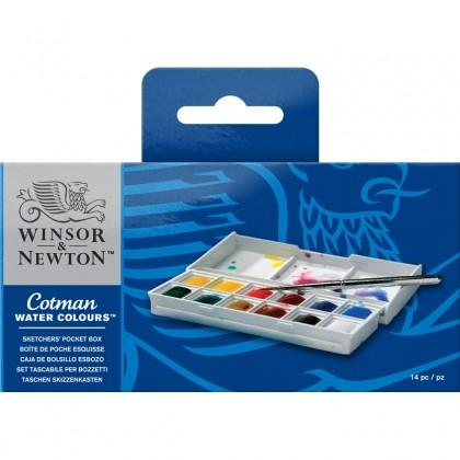 W&N COTMAN WATER COLORS SKETCHERS' POCKET BOX 12 + BRUSH